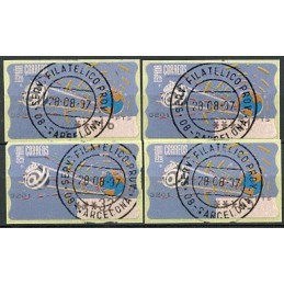 ESPAÑA (1996). 14.1. Globo terrestre y espacio (2 - azul claro). Epelsa PTS-5A. Serie 4 valores (1997), matasello