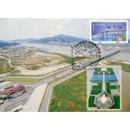 MACAU (2001). Puente - Ponte 'Flor de Lótus' - REIMP 2000 - Nagler. Tarjeta 'Dia Mundial do Correo'