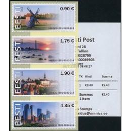ESTONIA (2020). Visita Estonia (Tallinn, molino y faro) - BNEE20 EE01. Serie  4 valores + recibo (primer día)