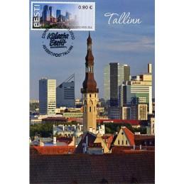 ESTONIA (2020). Visita Estonia (Tallinn, molino y faro) - BNEE20 EE01. Tarjeta máxima (Tallinn moderno, rascacielos)