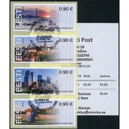 ESTONIA (2020). Visita Estonia (Tallinn, molino y faro) - BNEE20 EE01. ATMs, matasello + recibo (primer día)
