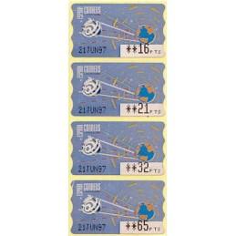 ESPAÑA (1996). 14.1. Globo terrestre y espacio (2 - azul claro). Epelsa PTS-4 CB. Serie 4 valores (1997), ATMs con fecha