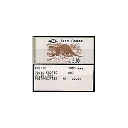 FINLANDIA (1994). Nutria europea - 1. ATM nuevo + recibo