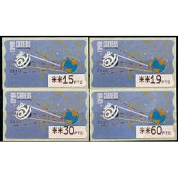 ESPAÑA (1996). 14.1. Globo terrestre y espacio (2 - azul claro). Mobba PTS. Serie 4 valores