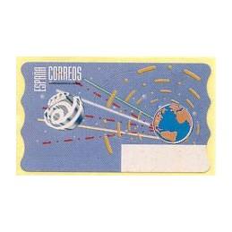 ESPAÑA (1996). 14.1. Globo terrestre y espacio (2 - azul claro).  Etiqueta en blanco