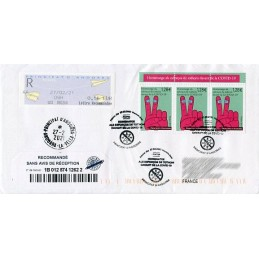 ANDORRA (French Post) (2021). Definitive issue MOG - Paper planes - G03. Cover registered to France, mixed (COVID-19)
