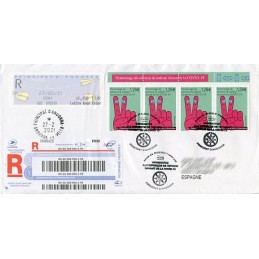 ANDORRA (French Post) (2021). Definitive issue MOG - Paper planes - G03. Cover registered to Spain, mixed (COVID-19)