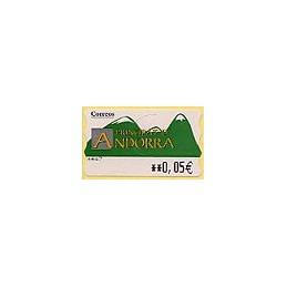 ANDORRA. Montañas verdes- 1. EUR-5E-6647. ATM nuevo (0,05)