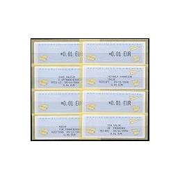 FRANCIA (2004). Aviones papel (2) T+F - Monétel. ATM + rec. (x4)