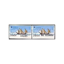 ESPAÑA. 20S. Barcos de época. Etiq. control PTS-A (No.) + sello
