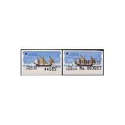 ESPAÑA. 20S. Barcos de época. Etiq. control PTS-A (No.+c) + sell