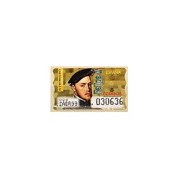 ESPAÑA. 28S. Felipe II. Etiqueta control A (No.)