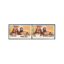 ESPAÑA. 46S. H. Dolores Cristo. Etiq. control PTS-A (N-) + sello