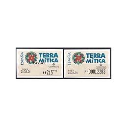 ESPAÑA. 49S. Terra Mitica. Etiqueta control PTS-E (N-) + sello