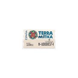 ESPAÑA. 49S. Terra Mitica. Etiqueta control E (N-)