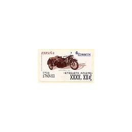 ESPAÑA. 96. DKW con sidecar. 5E. Etiqueta ajuste