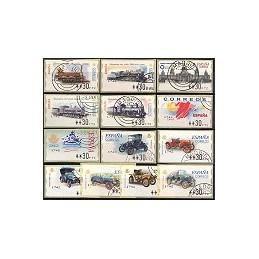 ESPAÑA. Año 2001. 13 ATMs nuevos con matasello