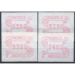 NORUEGA (1986). Emisión básica Frama. Serie 4 val. (1988)
