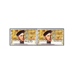 ESPAÑA. 28S. Felipe II. Etiq. control PTS-A (No.) + sello