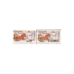 ESPAÑA. 36S. España Turística. Etiq. control PTS-E (N-) + sello