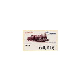 ESPAÑA. 104. Locomotora y tender. 5A. ATM nuevo (0,01)