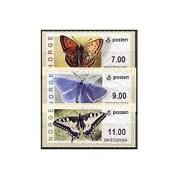 NORUEGA (2007). Mariposas. Serie 3 val. (Prio.)