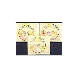 MALAYSIA (1987). Emblema postal. Serie 3 val., mat. 1er. día
