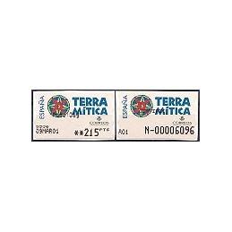 ESPAÑA. 49S. Terra Mitica. Etiqueta control PTS-A (N-) + sello