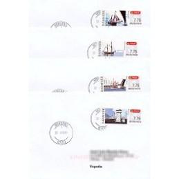DINAMARCA (2007). Puentes Dinamarca (1.3). Sobres a España x 4