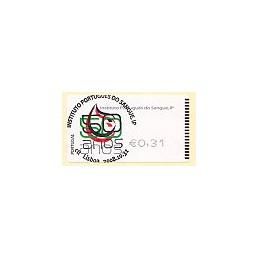 PORTUGAL (2008). I.P. Sangre - SMD negro. ATM (0,31), matasello