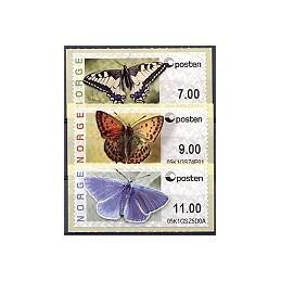 NORUEGA (2008). Mariposas (nuevo logo). Serie 3 val. (Prio.)