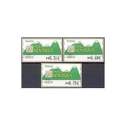 ANDORRA. Montañas verdes- 5. 0083 ENCAMP. Serie 3 val. (08) Fech