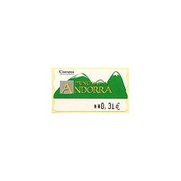 ANDORRA (2008). Montañas verdes- 5. LF-5E. ATM nuevo (0,31)