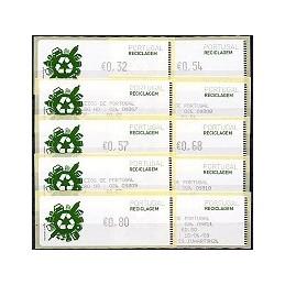 PORTUGAL (2009). Reciclaje - Crouzet negro. Serie 5 v. + r. (1r
