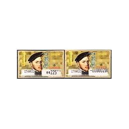 ESPAÑA. 28S. Felipe II. Etiq. control PTS-E (No.-) + sello