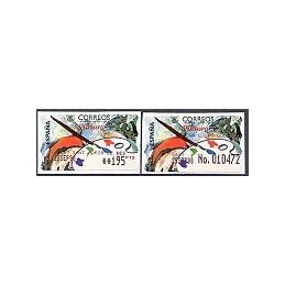 ESPAÑA. 18S. Pintura. Etiq. control PTS-E (No.) + sello